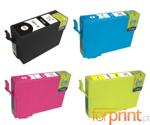 4 Compatible Ink Cartridges, Epson T1301-T1304 Black 33ml + Color 14ml