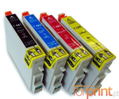 4 Compatible Ink Cartridges, Epson T0441-T0444 Black 17ml + Color 17ml
