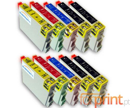 10 Compatible Ink Cartridges, Epson T0441-T0444 Black 17ml + Color 17ml
