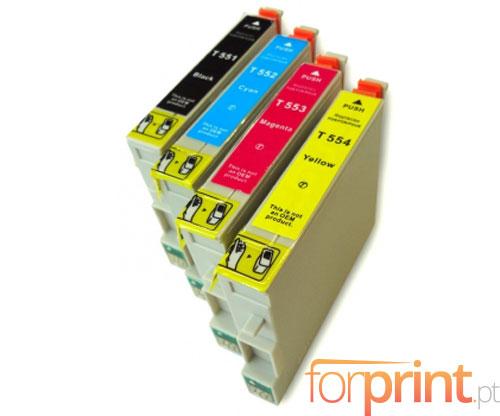 4 Compatible Ink Cartridges, Epson T0551-T0554 Black 17ml + Color 16ml