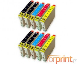 10 Compatible Ink Cartridges, Epson T0551-T0554 Black 17ml + Color 16ml
