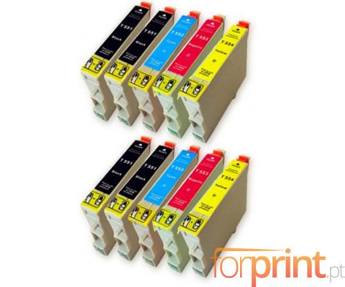 10 Compatible Ink Cartridges, Epson T0551-T0554 Black 17ml + Color 16ml
