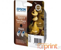 2 Original Ink Cartridges, Epson T0511 Black 24ml