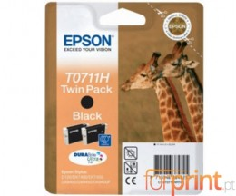 2 Original Ink Cartridges, Epson T0711H Black 11.1ml