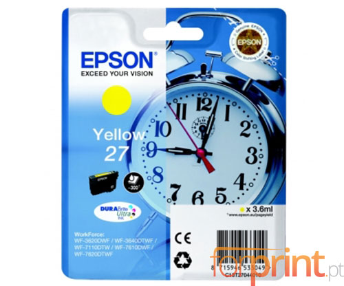 Original Ink Cartridge Epson T2704 / 27 Yellow 3.6ml
