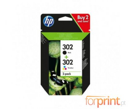 2 Original Ink Cartridges, HP 302 Black 3.5ml + Color 4ml