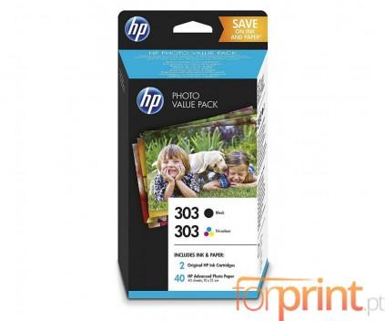 2 Original Ink Cartridges, HP 303 Black 4ml + Color 4ml + 40 Sheets 10x15cm