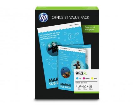 3 Original Ink Cartridges, HP 953 XL Color 20ml