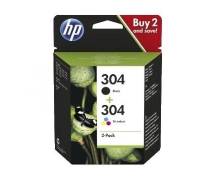 2 Original Ink Cartridges, HP 304 Black 4ml + Color 2ml
