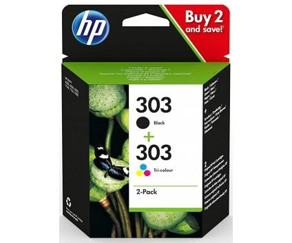 2 Original Ink Cartridges, HP 303 Black 4ml + Color 4ml