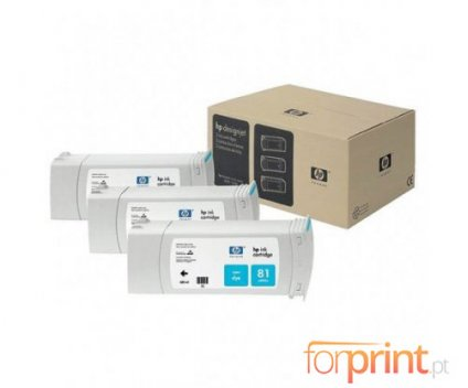 3 Original Ink Cartridges, HP 81 Cyan 680ml