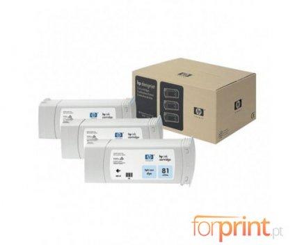 3 Original Ink Cartridges, HP 81 Cyan Photo 680ml