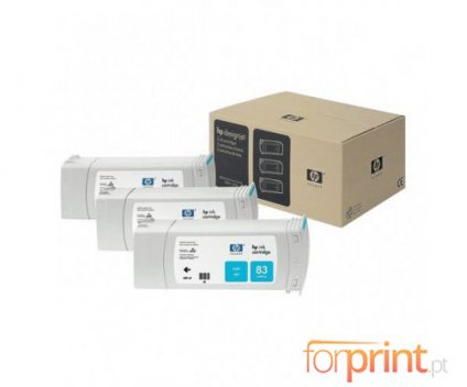 3 Original Ink Cartridges, HP 83 Cyan 680ml UV