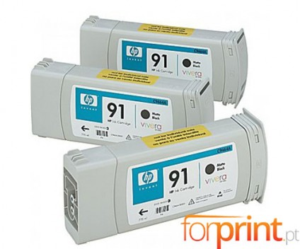 3 Original Ink Cartridges, HP 91 Black Matte 775ml