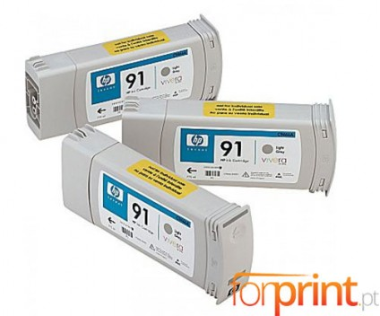 3 Original Ink Cartridges, HP 91 Grey bright 775ml