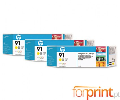 3 Original Ink Cartridges, HP 91 Yellow 775ml