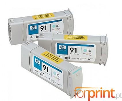 3 Original Ink Cartridges, HP 91 Cyan bright 775ml