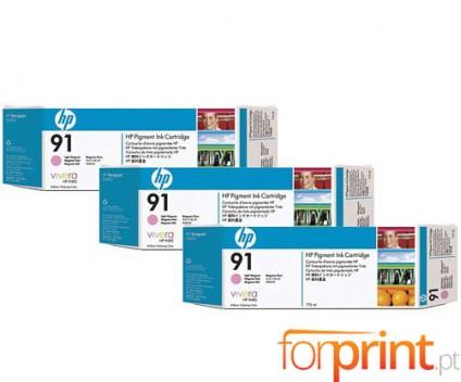 3 Original Ink Cartridges, HP 91 Magenta bright 775ml