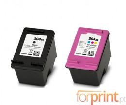 2 Compatible Ink Cartridges, HP 304 XL Black 20ml + Color 18ml
