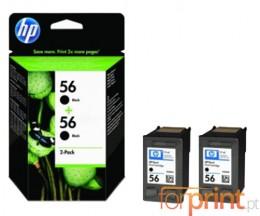 2 Original Ink Cartridges, HP 56 Black 19ml ~ 520 Pages