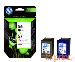 2 Original Ink Cartridges, HP 56 Black 19ml + 57 Color 17ml