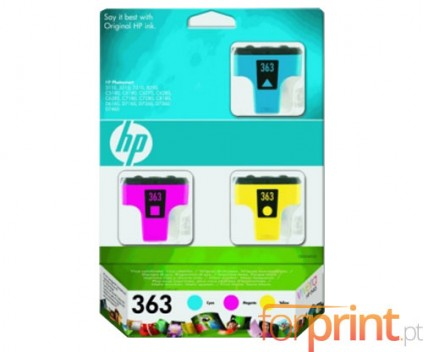 3 Original Ink Cartridges, HP 363 Color 4ml