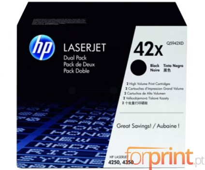 2 Original Toners, HP 42X Black ~ 20.000 Pages