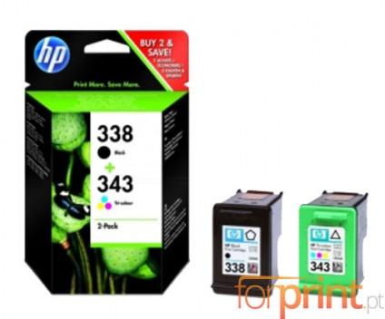 2 Original Ink Cartridges, HP 338 Black 11ml + HP 343 Color 7ml