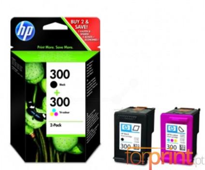 2 Original Ink Cartridges, HP 300 Black 4ml + Color 4ml