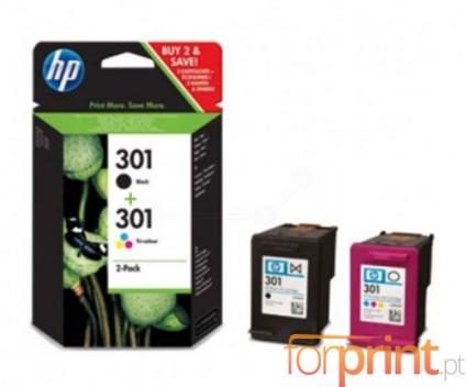 2 Original Ink Cartridges, HP 301 Black 3ml + Color 3ml