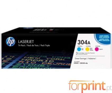 3 Original Toners, HP 304A Color CMY ~ 2.800 Pages