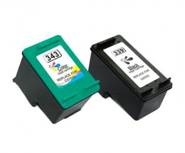 2 Compatible Ink Cartridges, Hp 343 Color 18ml + HP 339 Black 25ml