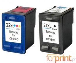 2 Compatible Ink Cartridges, HP 21 XL Black 22ml + HP 22 XL Color 16ml