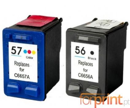 2 Compatible Ink Cartridges, HP 57 XL Color 18ml + HP 56 XL Black 22ml