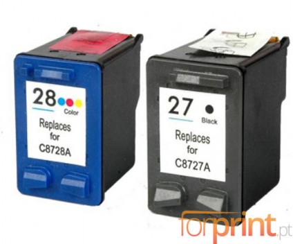 2 Compatible Ink Cartridges, HP 28 Color 18ml + HP 27 Black 22ml