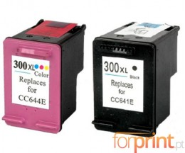 2 Compatible Ink Cartridges, HP 300 XL Black 20ml + Color 18ml