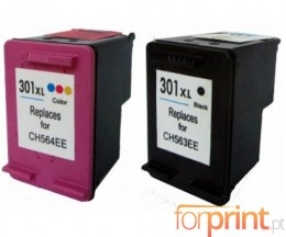 2 Compatible Ink Cartridges, HP 301 XL Black 20ml + Color 17ml