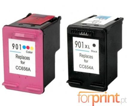 2 Compatible Ink Cartridges, HP 901 XL Black 20ml + Color 18ml