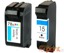 2 Compatible Ink Cartridge, HP 78 Color 39ml + HP 15 Black 40ml