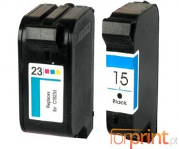 2 Compatible Ink Cartridges, HP 23 Color 39ml + HP 15 Black 40ml