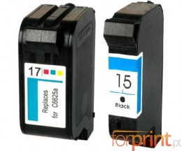 2 Compatible Ink Cartridges, HP 17 Color 39ml + HP 15 Black 40ml