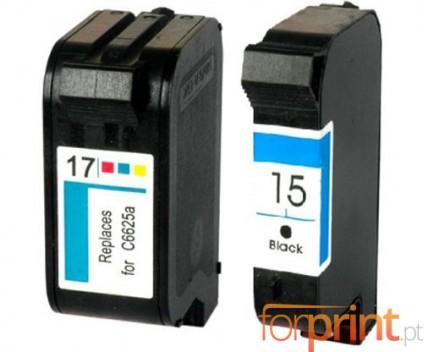 2 Compatible Ink Cartridges, HP 17 Color 39ml + HP 15 Black 40ml