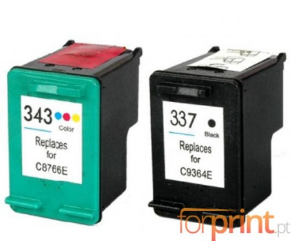 2 Compatible Ink Cartridges, HP 337 Black 18ml + HP 343 Color 18ml