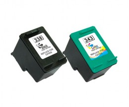 2 Compatible Ink Cartridges, HP 338 Black 20ml + HP 343 Color 18ml