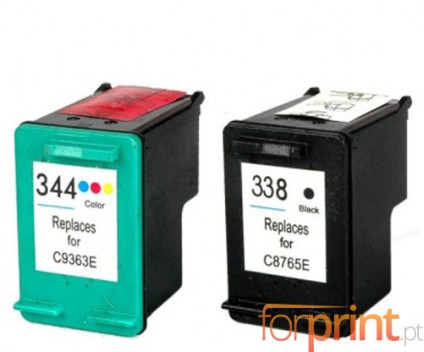 2 Compatible Ink Cartridges, HP 344 Color 18ml + HP 338 Black 20ml