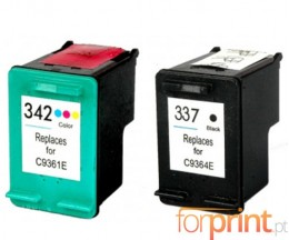2 Compatible Ink Cartridges, HP 342 Color 18ml + HP 337 Black 18ml