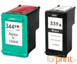 2 Compatible Ink Cartridges, HP 344 Color 18ml + HP 339 Black 25ml