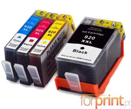 4 Compatible Ink Cartridges, HP 920 XL Black 53ml + Color 14.6ml