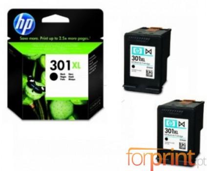 2 Original Ink Cartridges, HP 301 XL Black 8ml