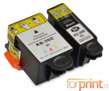 2 Compatible Ink Cartridges, Kodak 3952355 Black 16ml + Color 40ml